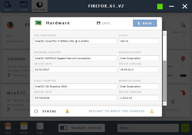 Manage hardware settings