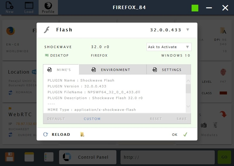 Manage flash player